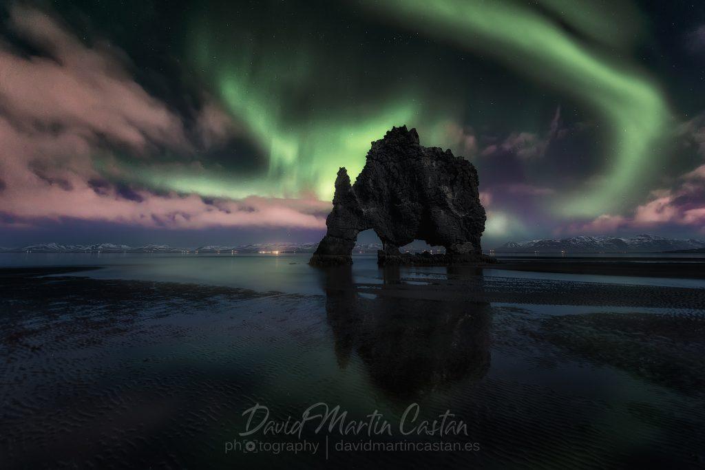 Aurora boreal en el Rhino, Islandia